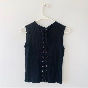 Zara Knit Black Sleeveless Top Back Lace Up Tie